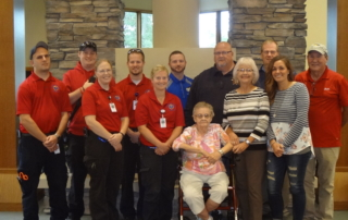 Clarinda REALTORS® chose to give their share to the Midwest Dive Team, the Clarinda Community Food Pantry, the CRHC Ambulance Service, the Lied Public Library and the Clarinda Fire Department. Pictured from these organizations are: Jerry Lager, Bruce Gruber, Tony Card, Carrie Ross and Katie Shelton representing the CRCH Ambulance Service, Andrew Hoppman with the Lied Public Library, Wayne Goeckler with the Midwest Dive Team, Janette Wilson of the Clarinda Community Center Food Pantry, Roger Williams representing the Clarinda Fire Department and REALTORS® Jenn Baumgart, Karen Beaver and George Crawford of the West Central Iowa Regional Board of REALTORS®.